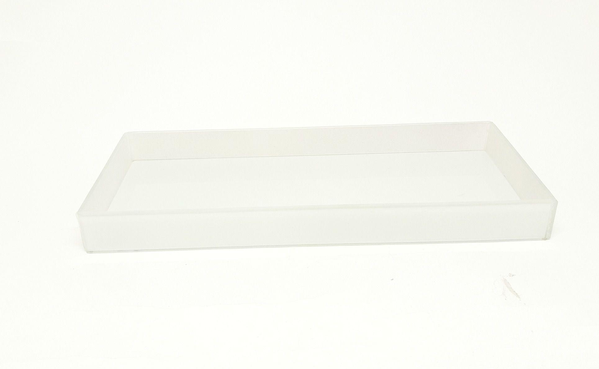 Bandeja Branca de Vidro para kit com 3 peças