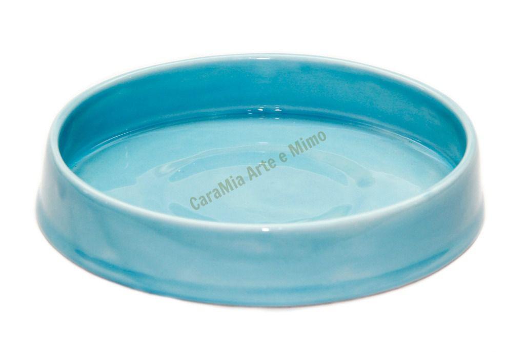 Bandeja Redonda em Cerâmica Azul Bebê 21 cm