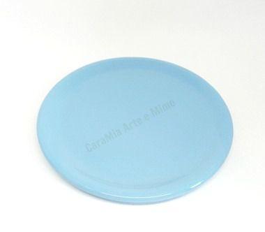 Bandeja Redondan em Cerâmica Azul Bebê - 30 cm para Kit e para garrafa