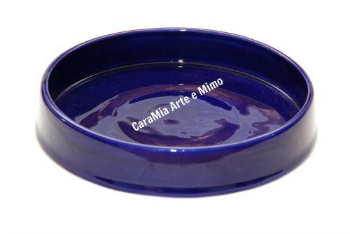 Bandeja Redonda  em Cerâmica Azul Marinho 21cm