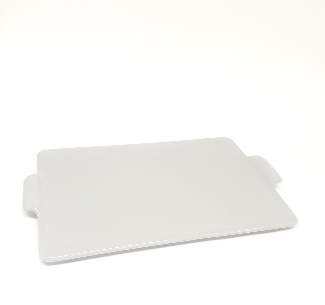Bandeja em cerâmica cinza de 20 por 30 cm