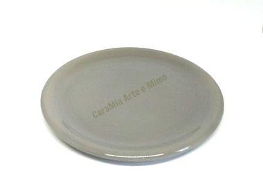 Bandeja Redonda em Cerâmica Cinza para Kit e para Garrafa 30 cm