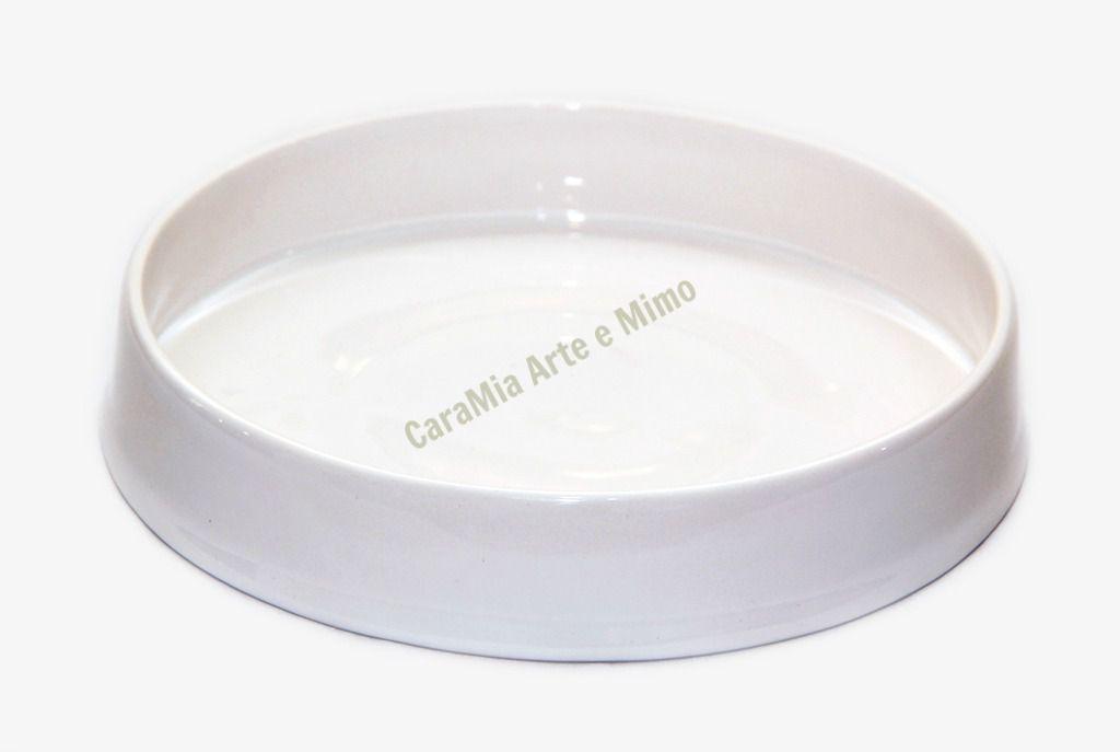 Bandeja Redonda em Cerâmica Off-White ( Branco envelhecido)