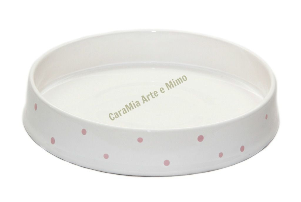 Bandeja Redonda em Cerâmica off-white com Poá Rosa