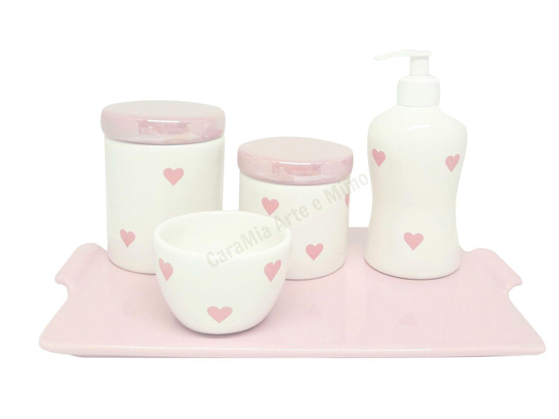Bandeja em Cerâmica Retangular sem bordas rosa bebê