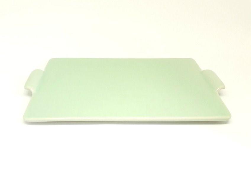 Bandeja em Cerâmica Verde Retangular sem bordas