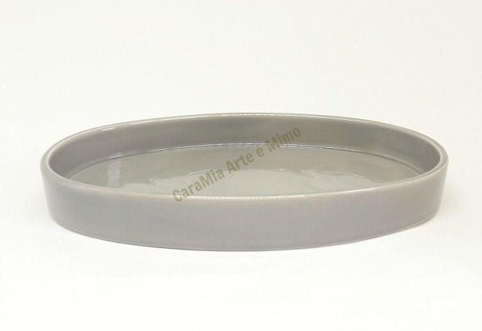 Bandeja Oval Cinza em Cerâmica para Kit e para Garrafa ou Moringa