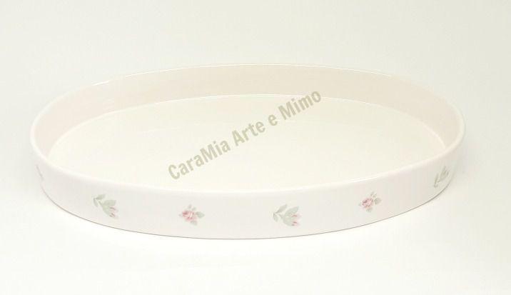 Bandeja Oval Off-White Floral Rosa  para Kit e para Garrafa ou Moringa