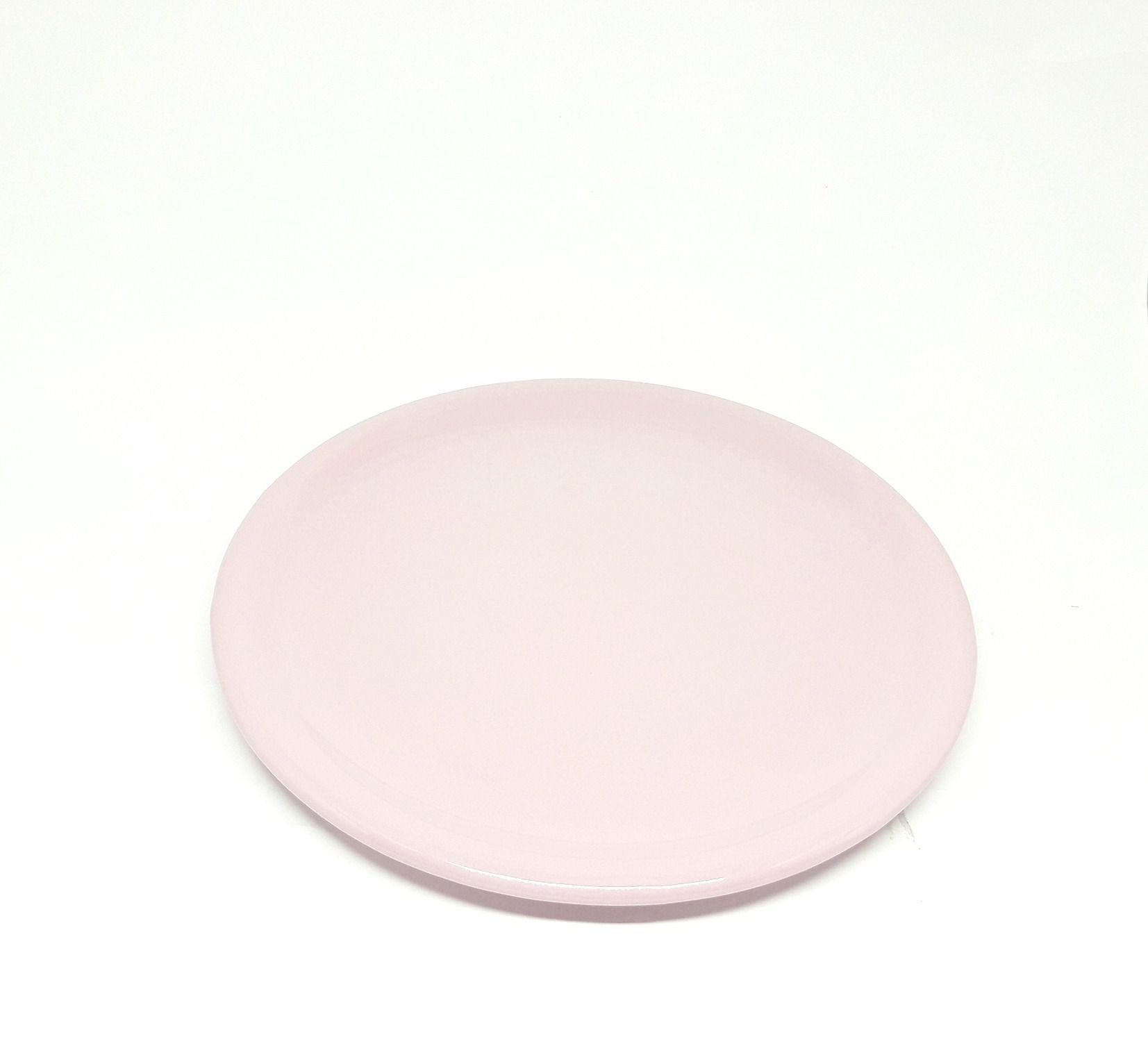 Bandeja Redonda em Cerâmica Rosa Bebê 30 cm