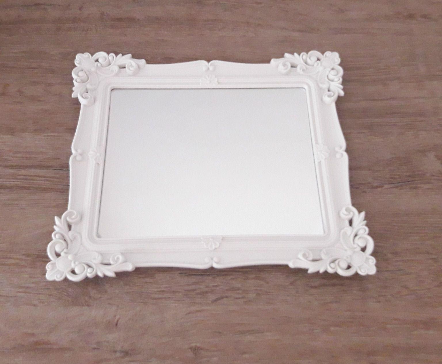 Bandeja Retangular Branca Espelhada Provençal de Plástico