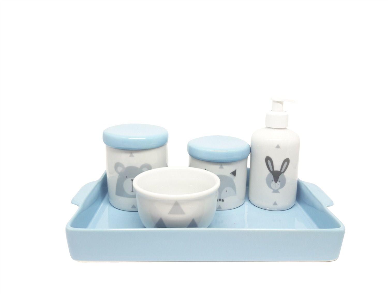 Bandeja Retangular em Cerâmica Azul para Kit e para Garrafa ou Moringa