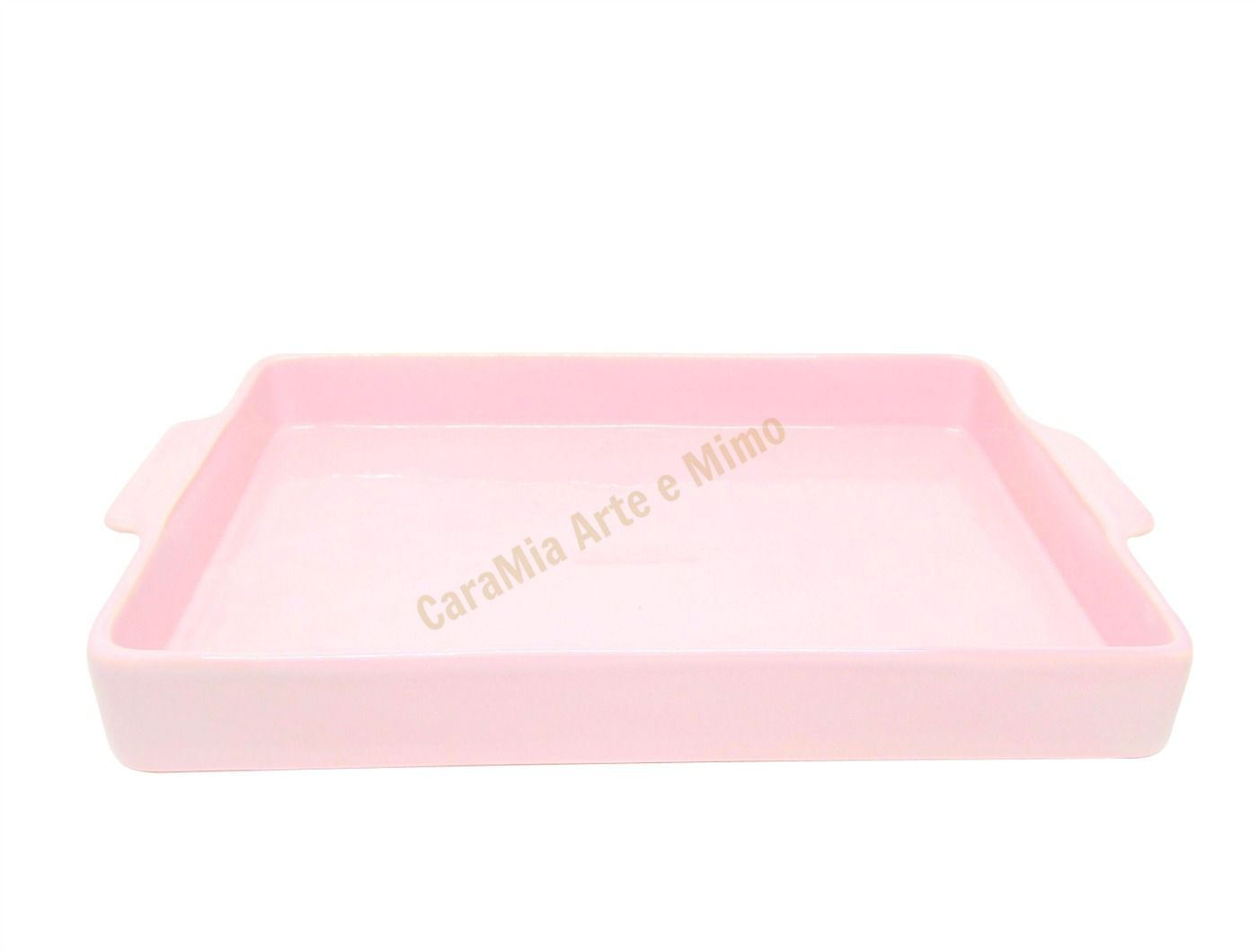Bandeja Retangular em Cerâmica Rosa para Kit e para Garrafa ou Moringa