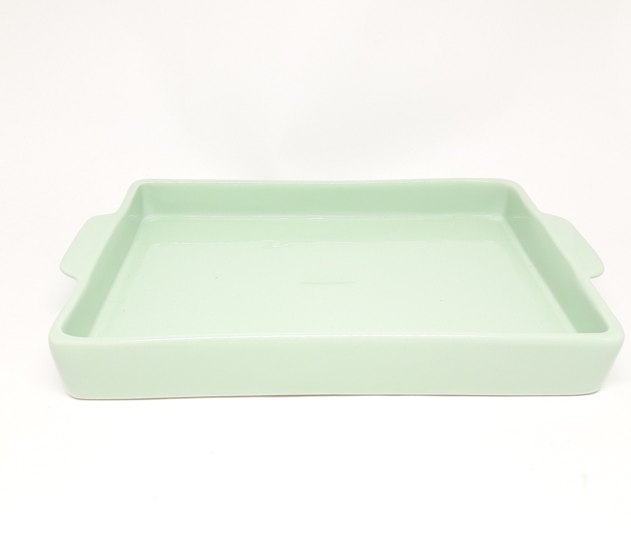 Bandeja Retangular em Cerâmica Verde para Kit e para Garrafa ou Moringa