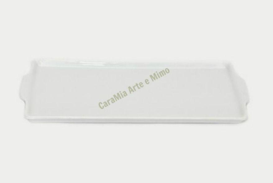 Bandeja Retangular em Porcelana Branca 24 por 17cm