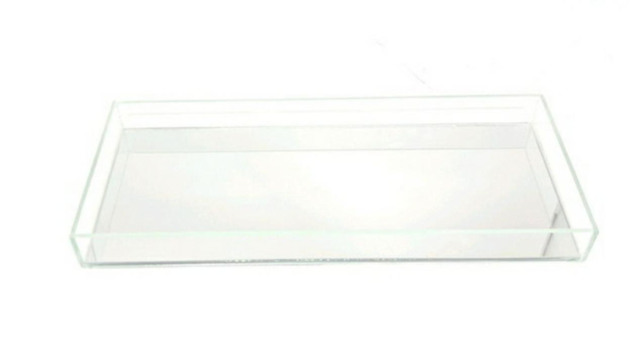 Bandeja Retangular Vidro Espelhada Transparente