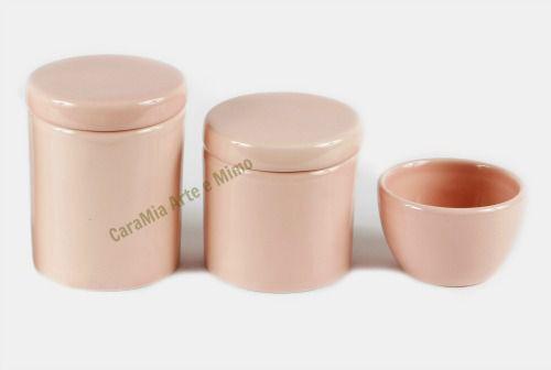 Kit Higiene Bebê Cerâmica | 3 peças| Rosa Antigo Liso |Rosê|