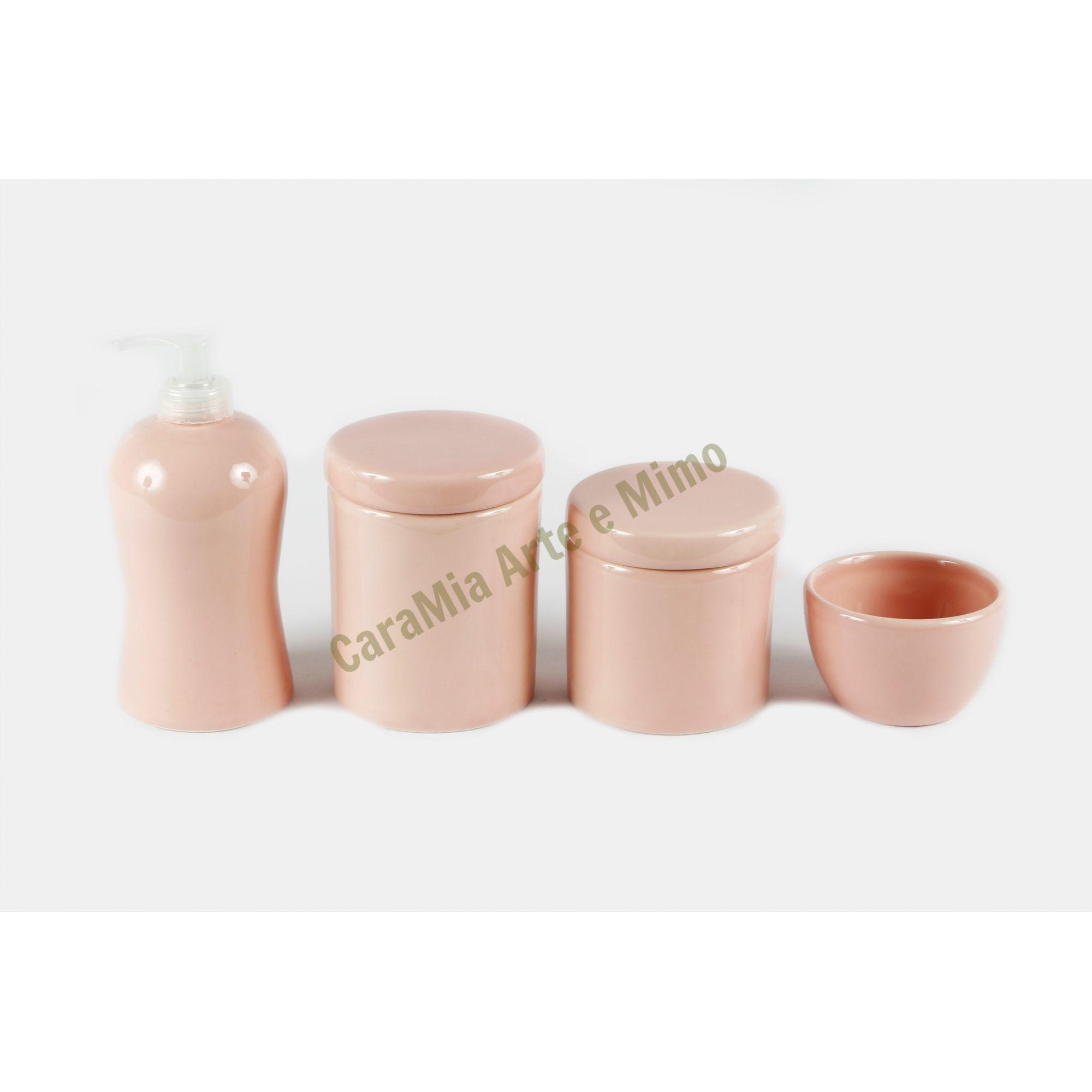 Kit Higiene Bebê Cerâmica | 4 peças| Rosa Antigo Liso |Rosê|