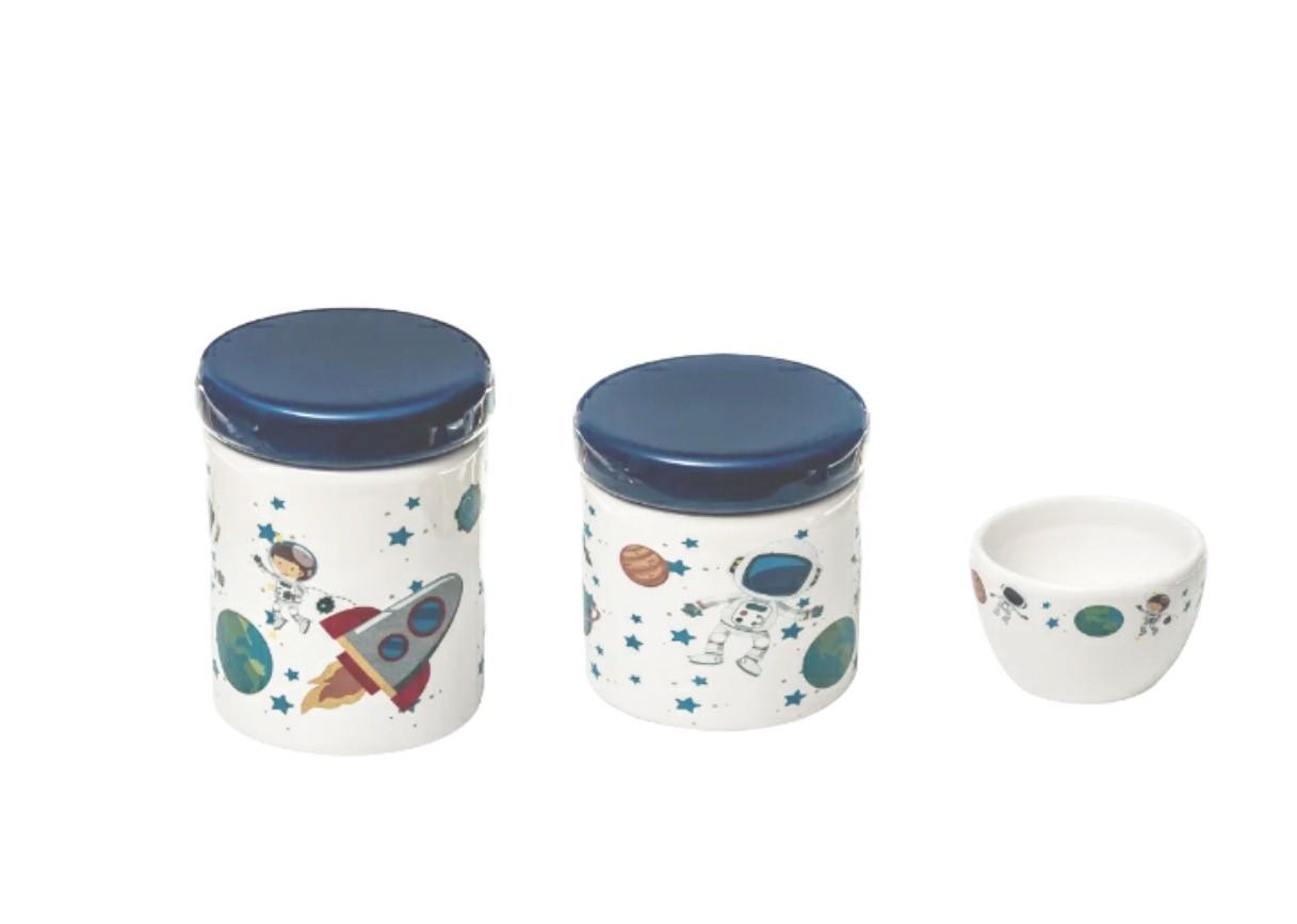 Kit Higiene Bebê Cerâmica Astronauta Marinho