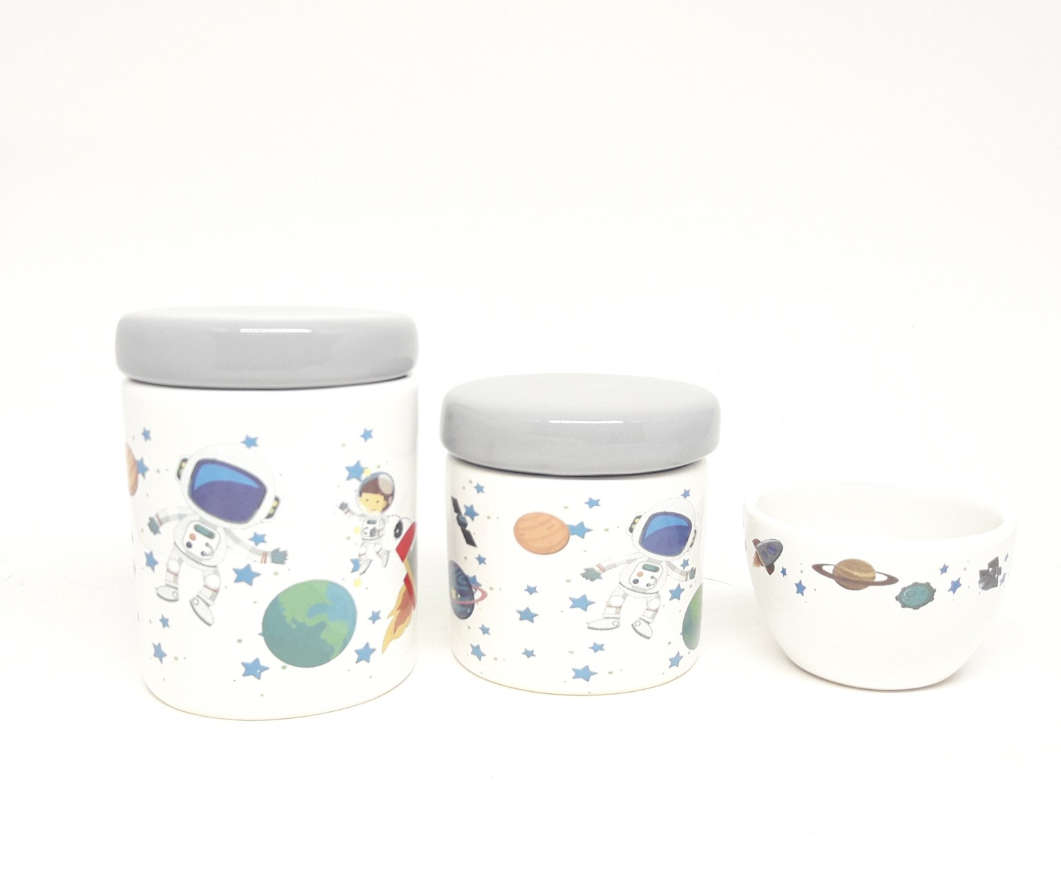 Kit higiene bebê cerâmica Astronauta Tampas Cinzas