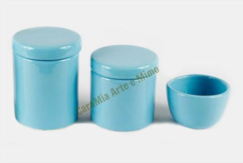 Kit Higiene Bebê Cerâmica | Azul Bebê Liso| 3 peças