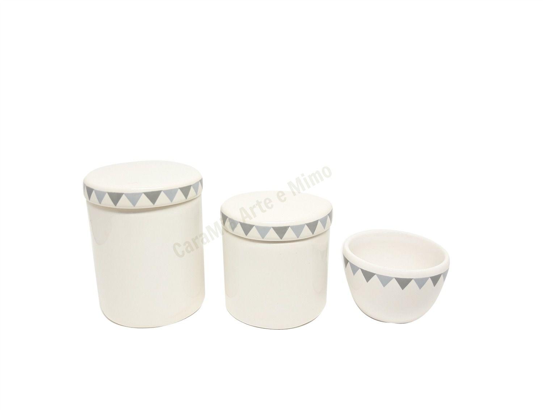 Kit Higiene Bebê Cerâmica | Bandeirinha| Triângulos | Geométrico | 3 peças