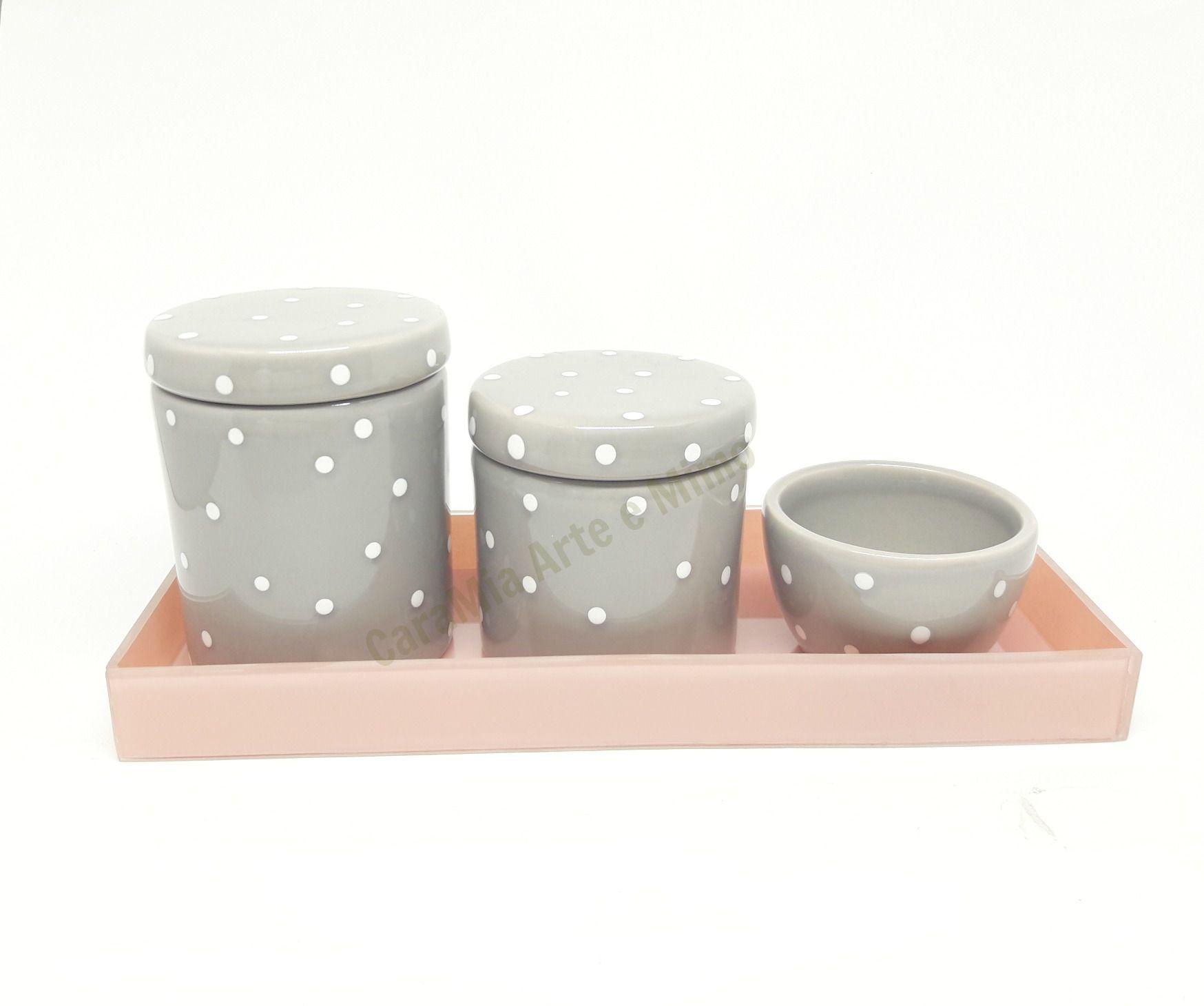 kit Higiene Bebê Cerâmica Branco com Poá Cinza | Bandeja Vidro Rosê| 4 peças