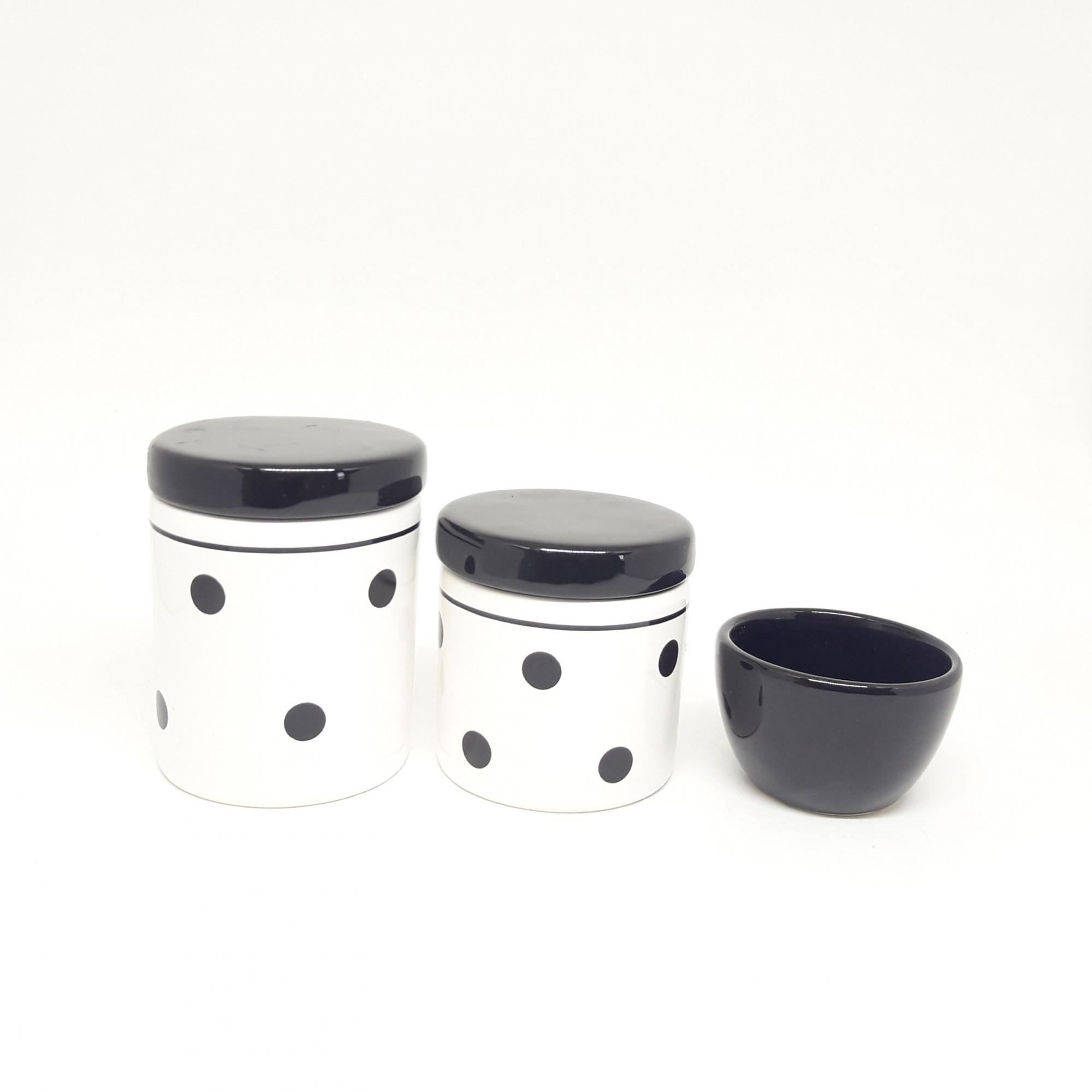 Kit Higiene Bebê Cerâmica Branco e Preto com Poa 3 peças