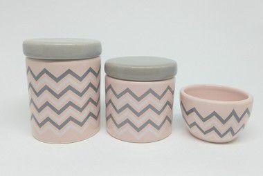 Kit Higiene Bebê Cerâmica| Chevron Rosa Antigo e Cinza