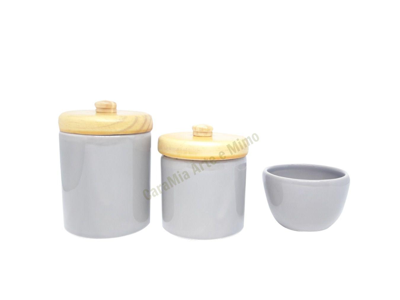 Kit Higiene Bebê Cerâmica Cinza| Tampas Pinus