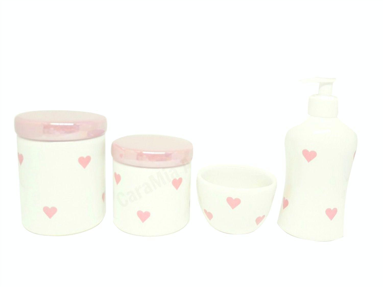Kit Higiene Bebê Cerâmica  |Coração & Corações Rosas