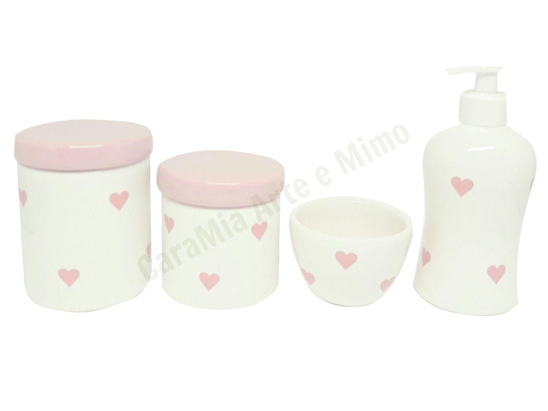 Kit Higiene Bebê Cerâmica |Coração & Corações Rosas| Tampas Rosas Lisas