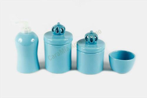 Kit Higiene Bebê Cerâmica |Coroa Azul Bebê| 4 Peças |