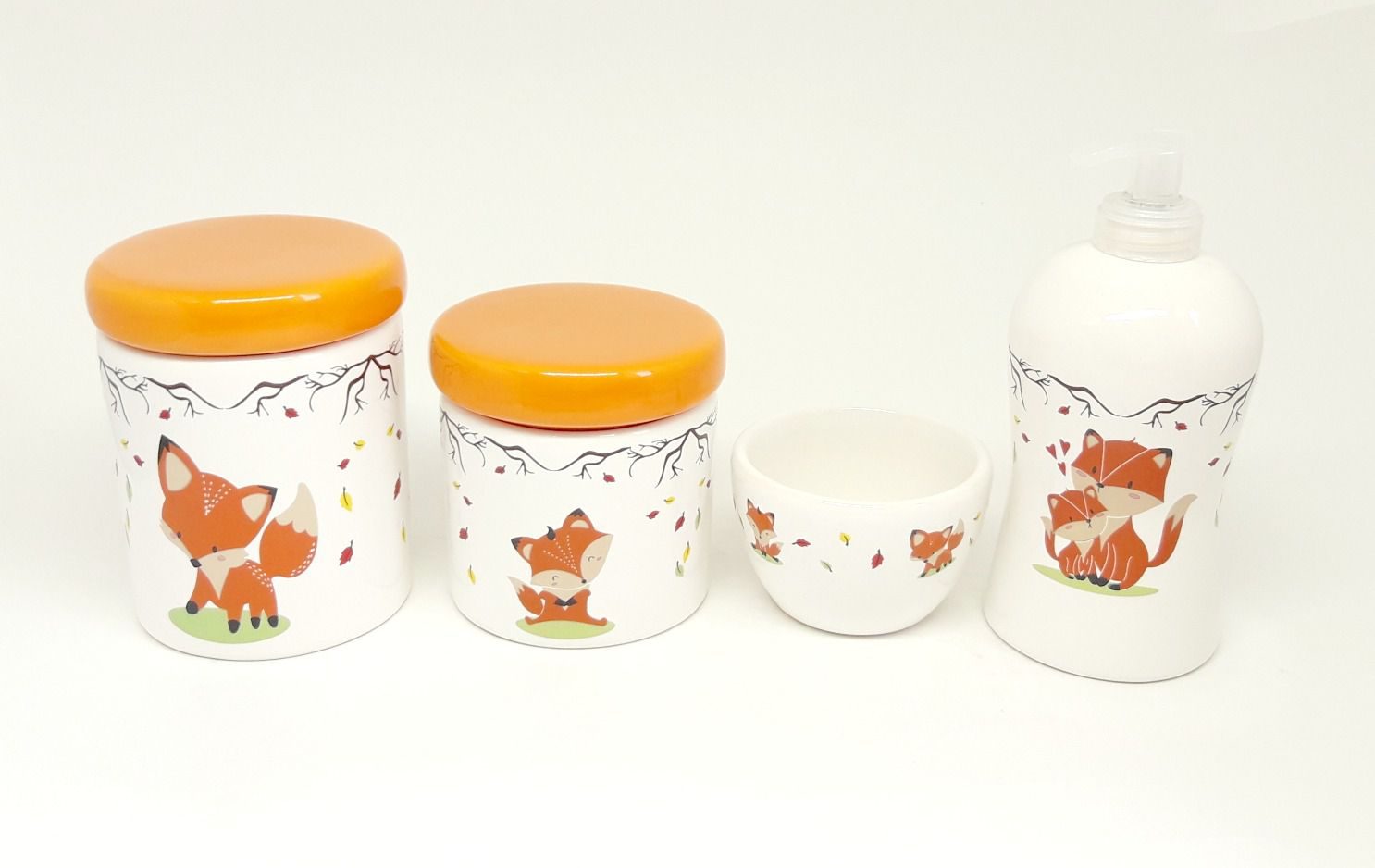 Kit Higiene Bebê Cerâmica Escandinavo | Raposa | 4 peças