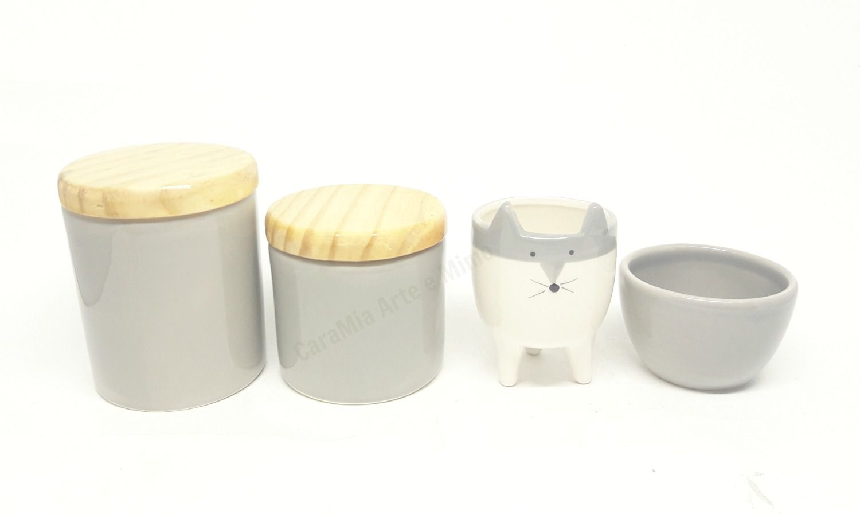 Kit Higiene Bebê Cerâmica Escandinavo | Raposa Cinza | Tampa Madeira Pinus