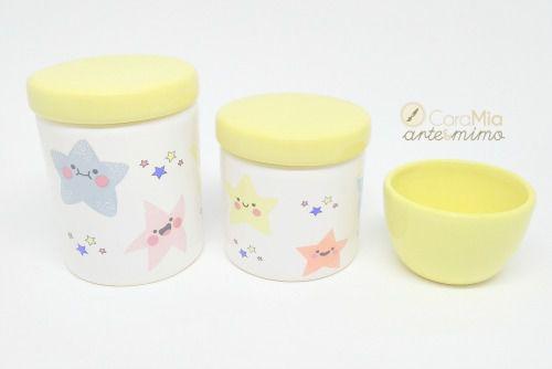 Kit Higiene Bebê Cerâmica| Estrela & Estrelinha | 3 peças