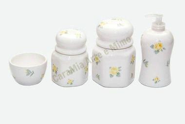 Kit Higiene Bebê |Cerâmica | Floral Amarelo| 4 peças