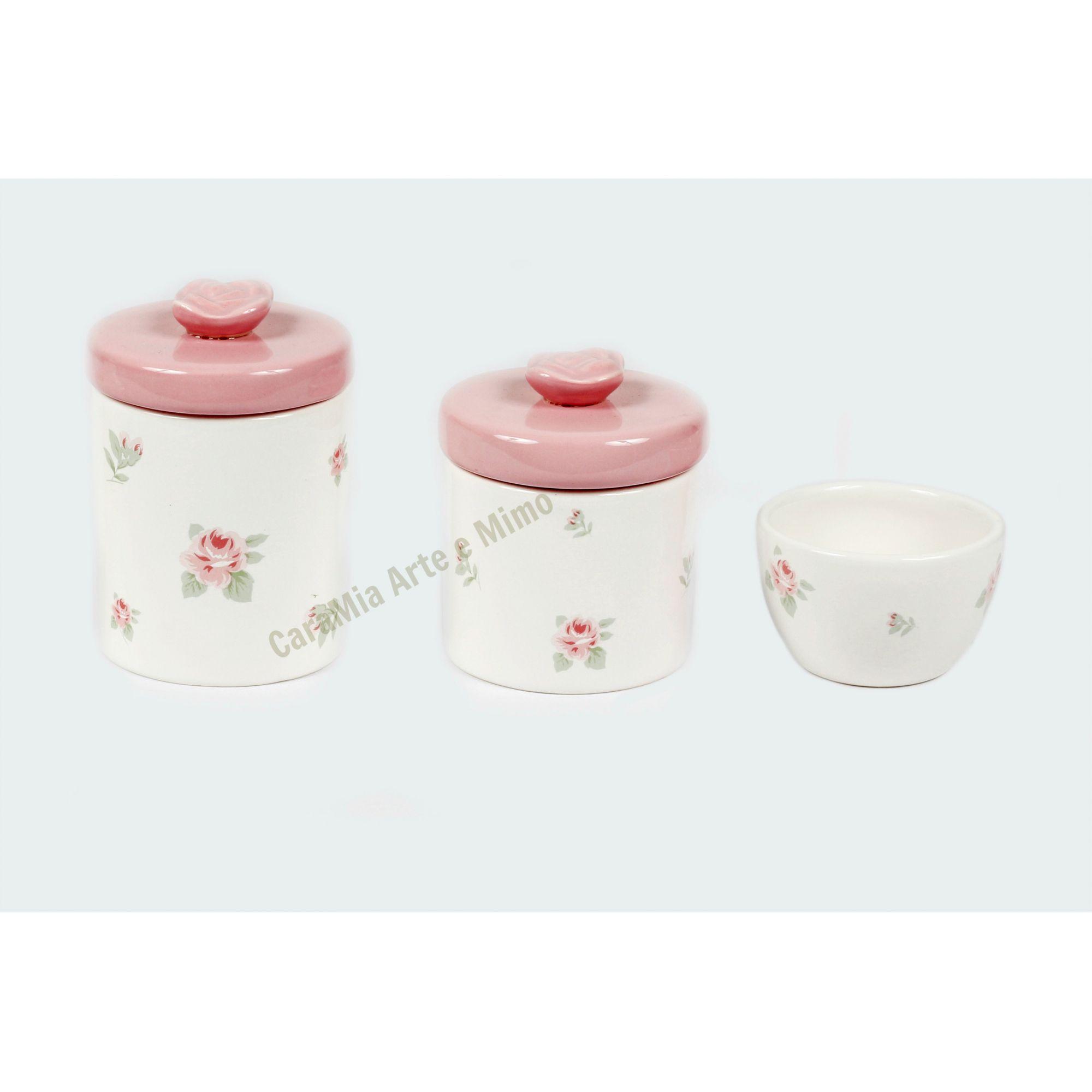 Kit Higiene Bebê Cerâmica Floral Rosa com Aplique de Rosas | 3 peças