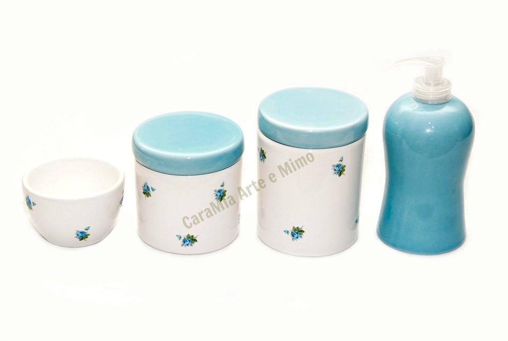 Kit Higiene Bebê Cerâmica Floral |Flor Azul | 4 peças