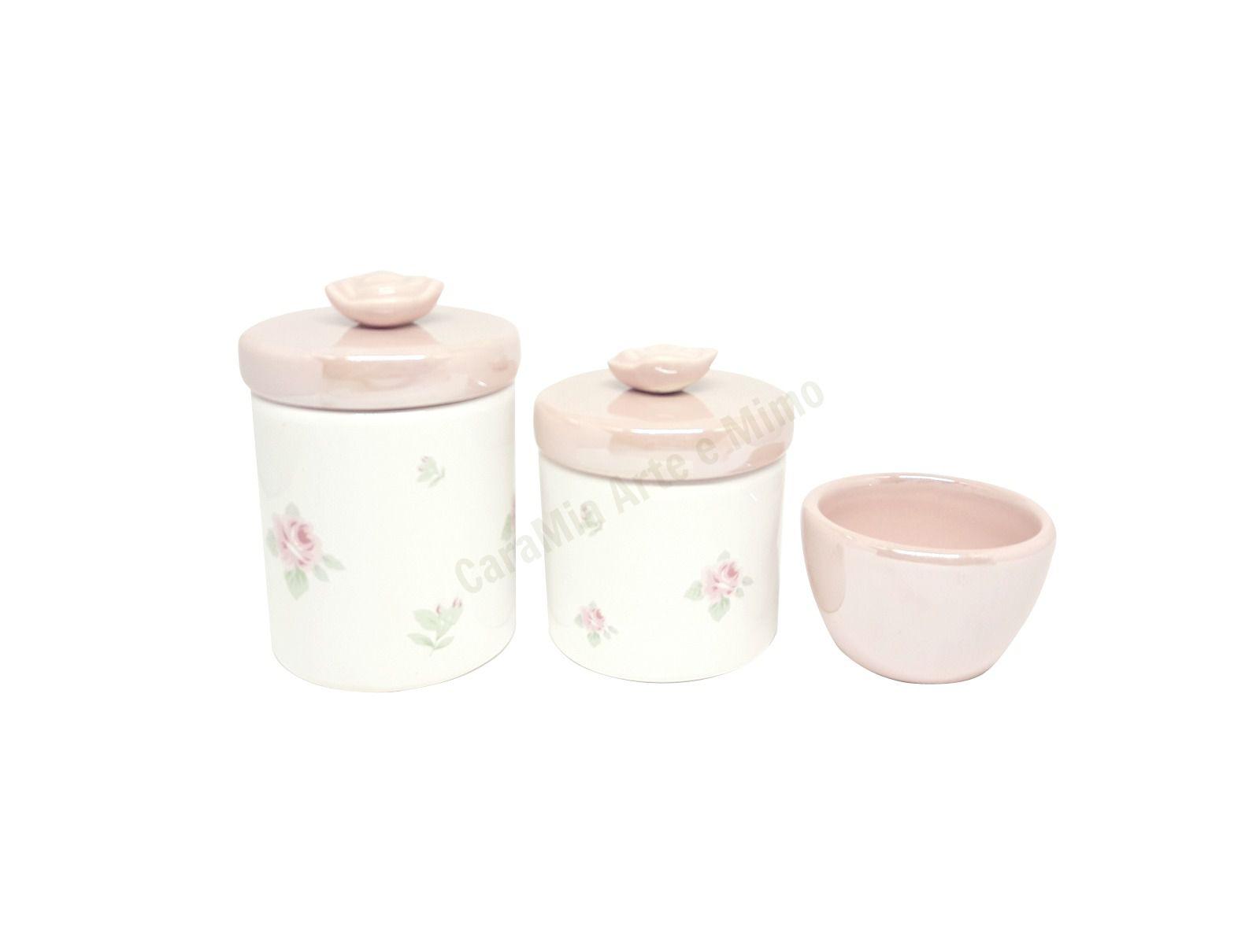 Kit Higiene Bebê Cerâmica Floral Rosa | Perolizado| 3 peças