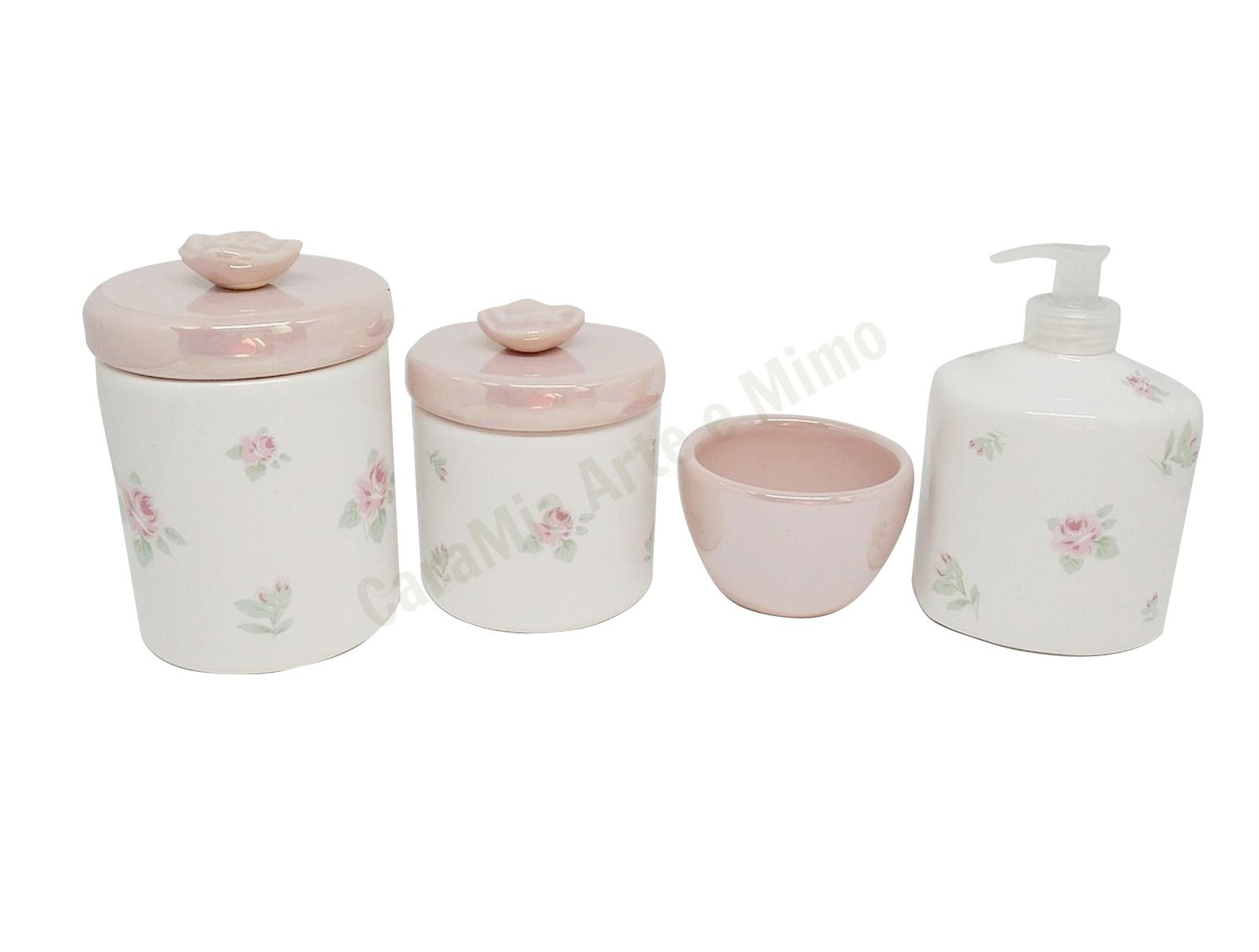 Kit Higiene Bebê Cerâmica | Floral Rosa Perolizado | 4 peças