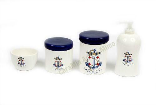 Kit Higiene Bebê Cerâmica | Marinheiro| 4 peças