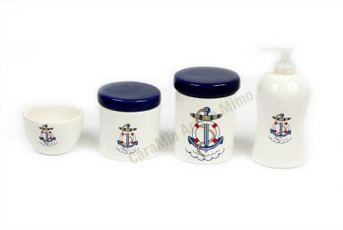 Kit Higiene Bebê Cerâmica | Meu Bebê Marinheiro + Bandeja Redonda Marinho | 5 Peças |