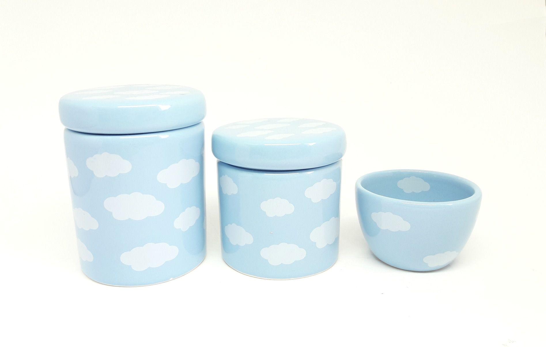 Kit Higiene Bebê Cerâmica | Nuvem | Azul | 3 Peças