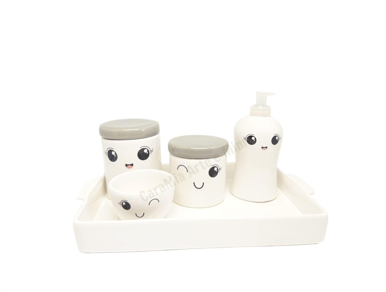 Kit Higiene Bebê Cerâmica | Olhinhos Cílios | Bandeja e Tampas Cinzas
