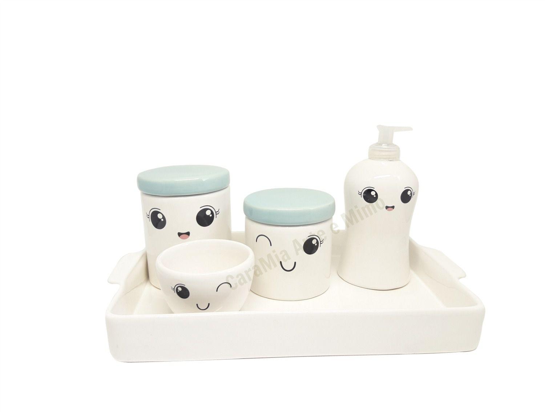 Kit Higiene Bebê Cerâmica | Olhinhos Cílios | Bandeja | Tampas Azuis