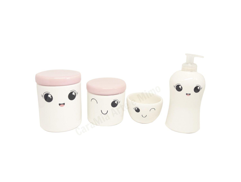 Kit Higiene Bebê Cerâmica   Olhinhos  Cílios  Rostinho   4 peças   Tampas Rosas