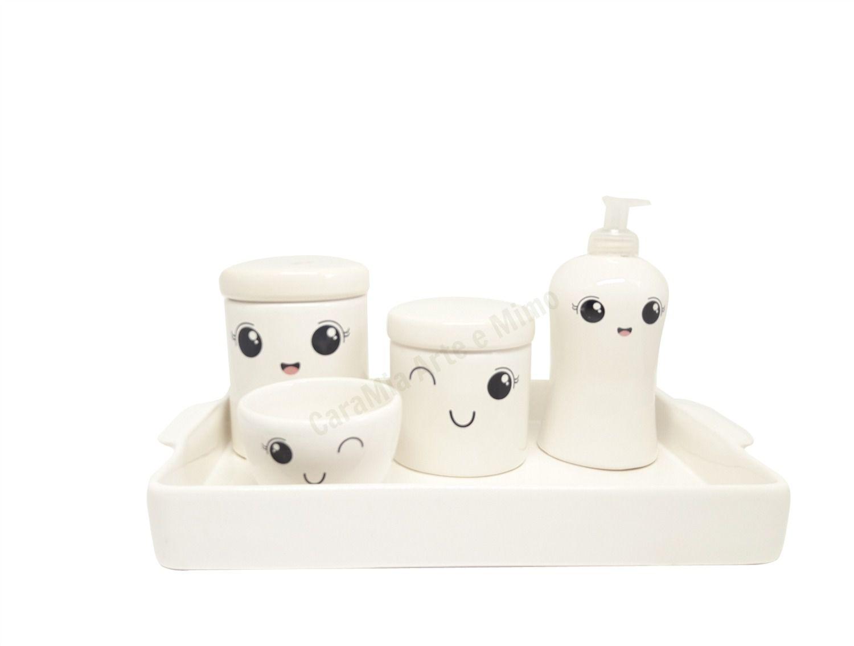 kit Higiene Bebê Cerâmica | Olhinhos Cílios| Tampas Brancas e Bandeja