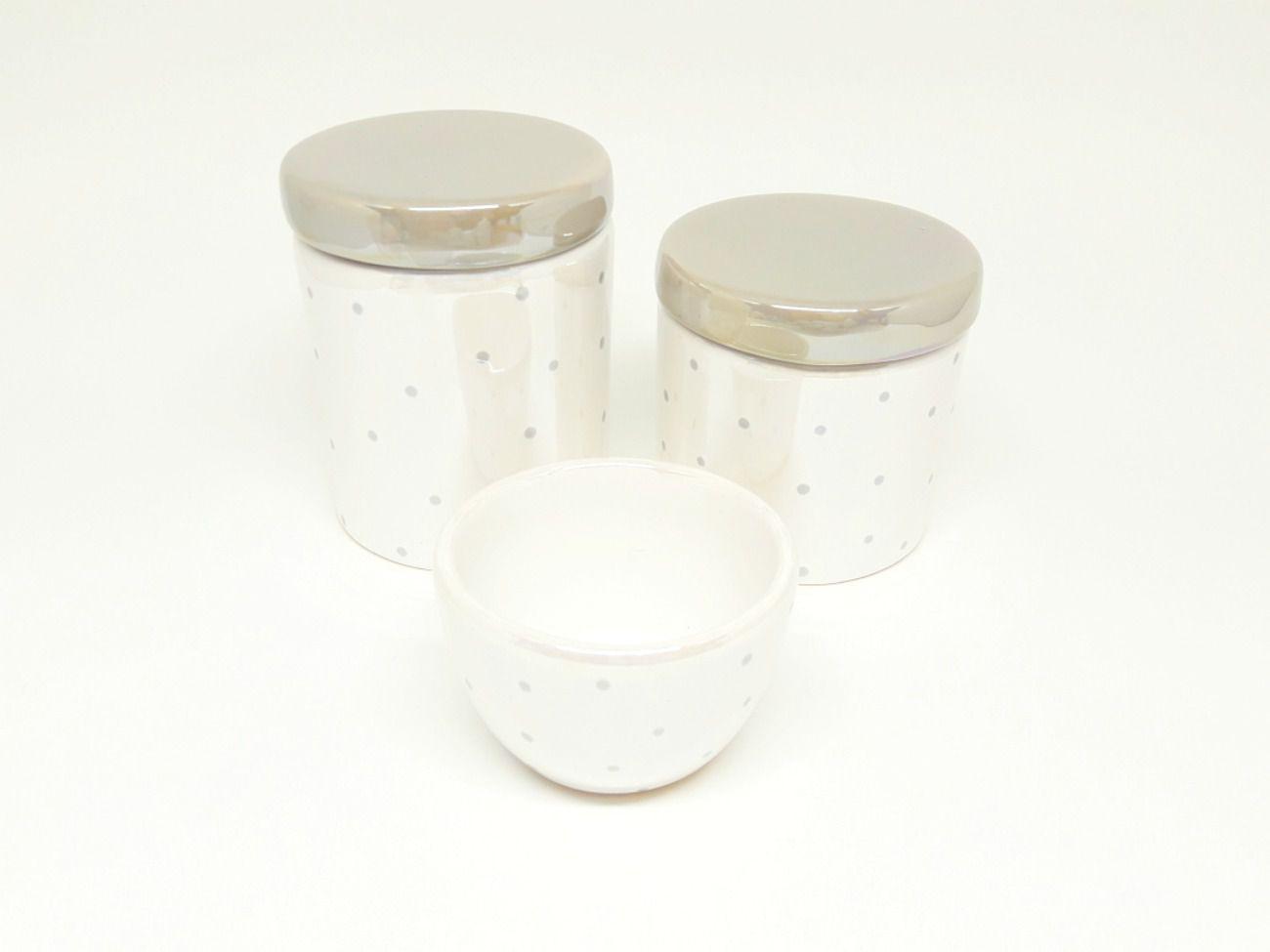 Kit Higiene Bebê Cerâmica Perolizado / Perolado Cinza & Poá Cinza | 3 peças