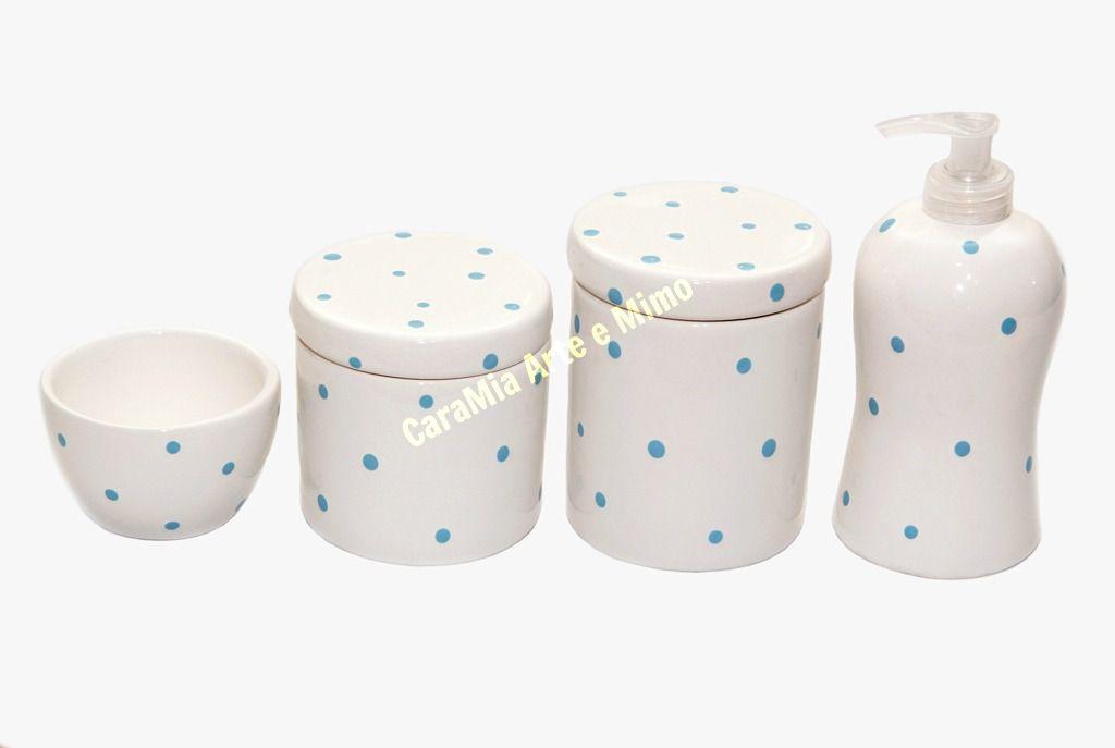 Kit Higiene Bebê Cerâmica | Petit Poá Azul | 4 Peças