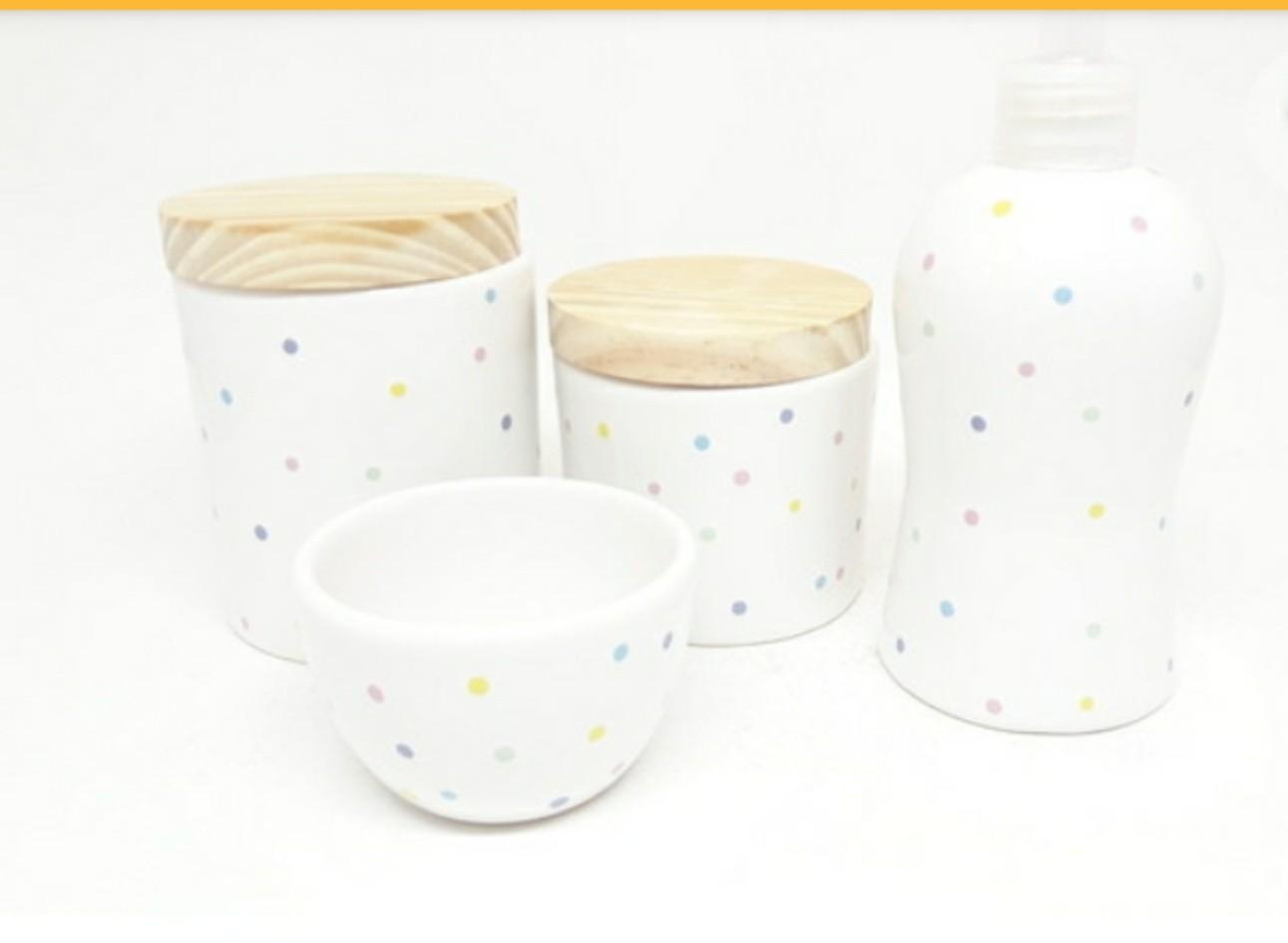 Kit Higiene Bebê Cerâmica Poa Colorido
